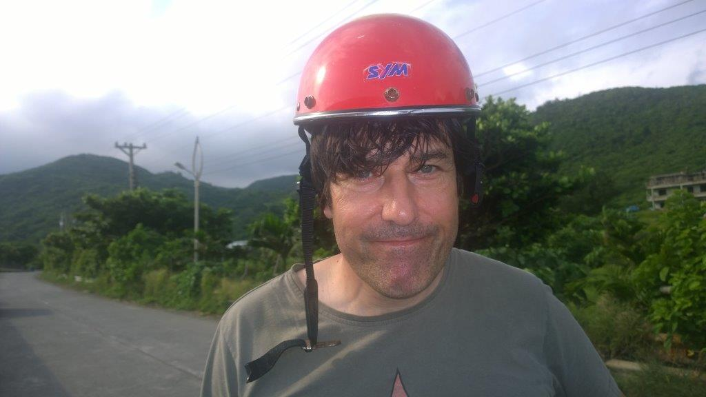 European tourist on Lanyu with a too small helmet