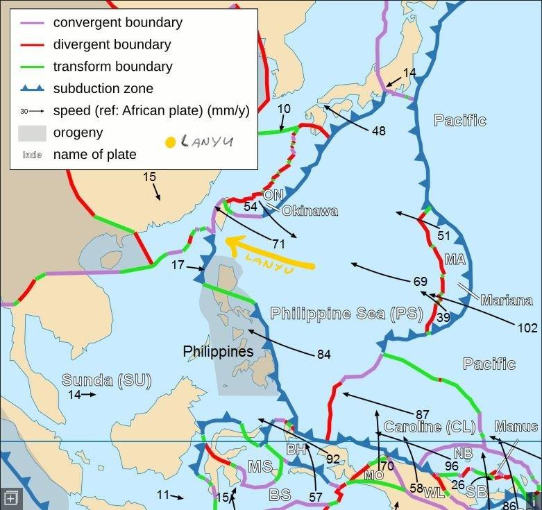 Plate tectonics map Lanyu (Orchid Island)