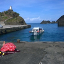 At Lanyu port, a boat for diving excursions